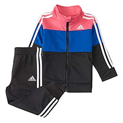 adidas Girls' Tricot Jacket & Jogger Active Clothing Set, Real Pink/Blue/Black, 4T