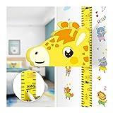 Watkings Pegatinas de pared de dibujos animados móviles 3D, lindos niños altura regla decoración de pared con forma animal móvil etiqueta magnética hogar
