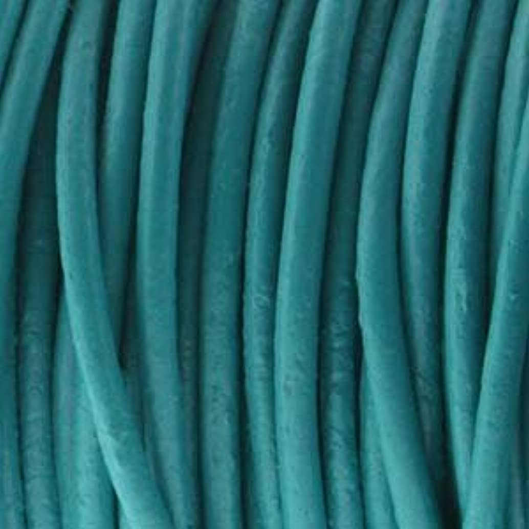 Genuine India Leather Round Cord 2mm Turquoise 25 Yards