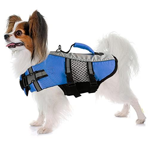 Dog Life Jacket Swimming Vest, Adjustable Dog Flotation Vest High Reflective Pet Life Preserver with Rescue Handle for Small Medium Large Dogs (Medium, Blue)