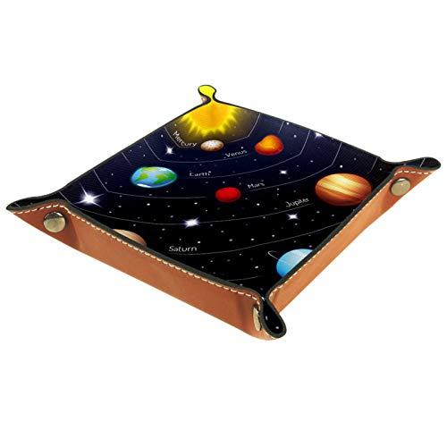 YATELI Petite boîte de Rangement, Plateau de Valet pour Homme,Soleil Terre Mars Mercure Jupiter,Organisateur de fourre-Tout en Cuir pour Bijoux à clés