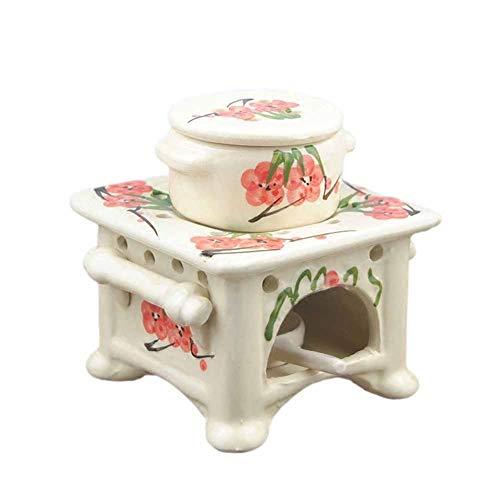 SETSCZY Lampada aromatica lampada a olio in ceramica per fornello in ceramica grigio per candele tealight, versione con contenitore profumato rimovibile, ideale per oli profumati e cere