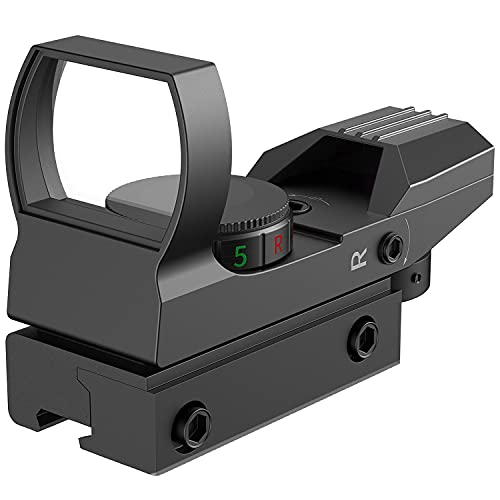 RHYTHMARTS Red Dot Sight Airsoft Scope Reflex Sight 4 Styles Reticles Adjustable Red and Green Sight for 11mm Rail