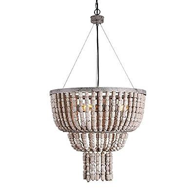 Eumyviv 17102 3-Lights Iron Frame & Wood Bead Three Tiers Chandelier Retro Rustic Industrial Pendant Light Edison Vintage Decorative Hanging Light Fixtures