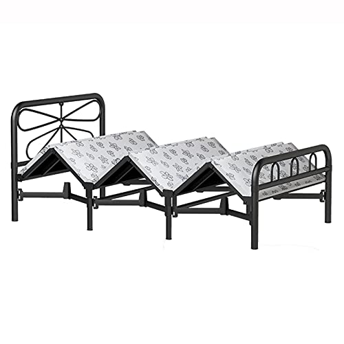 HOUSEHOLD Metal folding bed portable outdoor camping bed, Heavy-duty steel frame single bed platform bed, Extra bed for children and spare guest beds for adults, 0office lunch break bed