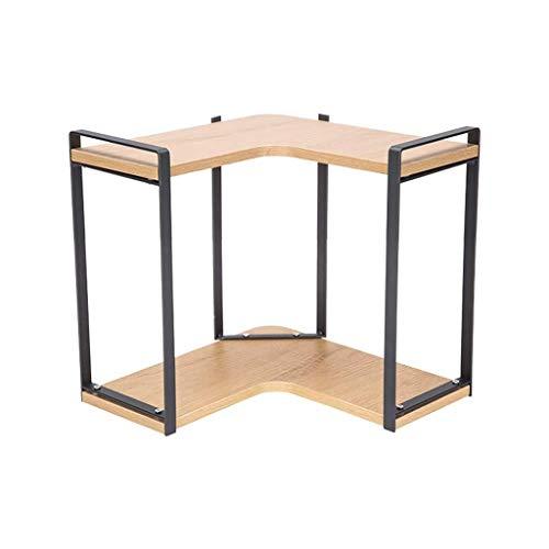 Lllffflll Abtropffläche, Küche Lagerung, Küchenregale Home Küche Stahl Holz Eckzarge Eckzarge Gewürzregal Lagerregal Desktop Lagerregal Gewürz (Size : 28.5 * 28.5 * 20cm)