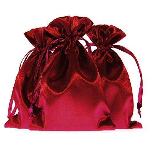 """Knitial 3"""" x 4"""" Wine Color Satin Gift Bags, Jewelry Bags, Wedding Favor Drawstring Bags Baby Shower Christmas Gift Bags 50 per Pack"""