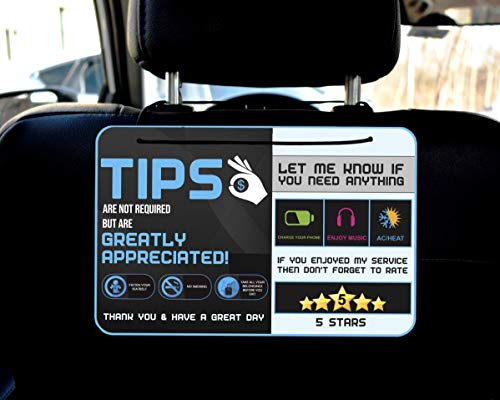 Tips - Five star Accessories rider-share sign for Driver |sign Rideshare 5 stars tips taxi sign driver Rating Appreciated Ride-share Driver Signs- Large 9x6 (Pack of 2) Perfect Gift