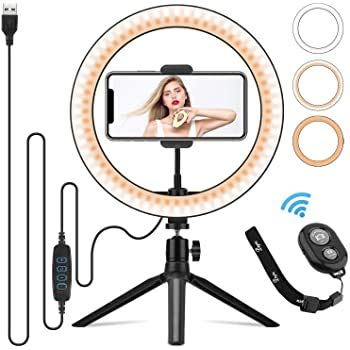 10.2' LED Ring Light with Tripod Stand and Phone Holder,Hushtong Dimmable Selfie Ring Light with 3 Light Modes & 11 Brightness Level, Perfect for Live Streaming & YouTube Video, Live Streaming