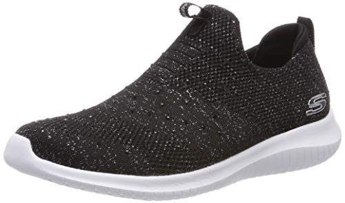 Skechers Damen Ultra Flex - Thrive Up Slip On Sneaker, Schwarz (Black Silver Blacksil), 36 EU