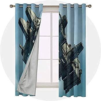 Bedroom Curtains,Science Fiction Alien Ship Illustration Extrate,Thermal Insulated Grommet Blackout Curtains for Bedroom,Setof2Panels W36 x L54