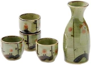 Hinomaru Collection Authentic Japanese Mino Ware Pottery Sake Set 5 fl oz Tokkuri Bottle with Four 1 oz Ochoko Cups Made i...