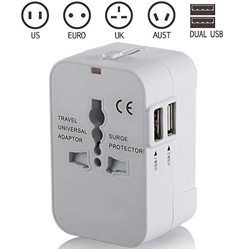 Reisadapter, universele universele stroomomvormer, oplader met twee USB-oplaadpoorten voor de VS EU UK UIT