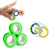 Akeicwel Stress Relief Magnetic Rings - Fidgeting Game for Anxiety Relief Focus Decompression - Finger Fidget Toys - Magic Mini Finger Hand Spinner Gadget Rings - Funny Novelty Gifts (Green)
