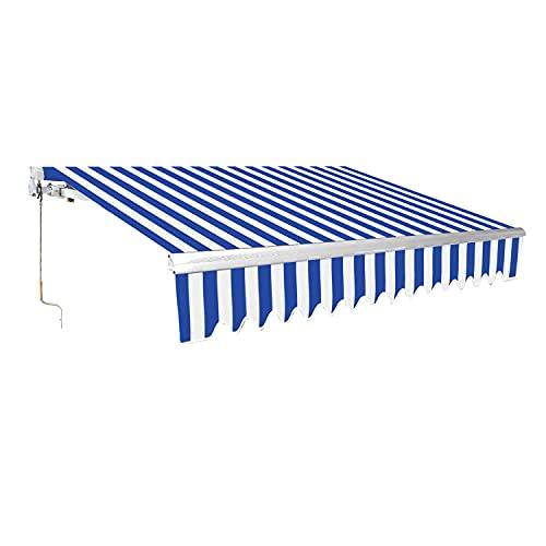 TolleTour Gelenkarmmarkise, Markise mit Kurbel, 2,5 x 2 m, Sonnenschutz, Anti-UV und wasserfest, Neigungswinkel bis 30 Grad, für Balkon und Veranda, Blau Weiß