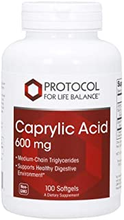 Protocol For Life Balance - Caprylic Acid 600 MG - Supports Healthy Digestive Environment, Medium Chain Triglycerides Fatt...