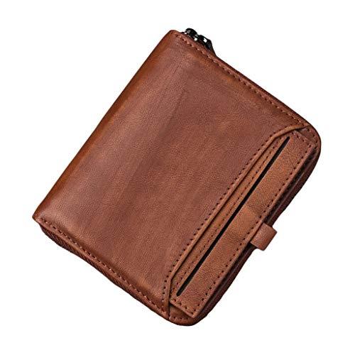 WXFF Monedas con Cremallera para Hombres para Hombre Soporte de Tarjeta de crédito Bifold con Cremallera con Bolsillo con Bolsillo de Moneda (Color : Brown)