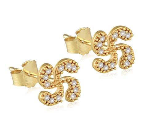 Talisman jewellery - Pendientes de tuerca con Lauburu en chapado oro y circonita blanca