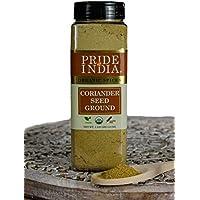 El orgullo de la India - Semilla de coriandro de tierra-18 onzas (510 g) Jarra tamizadora dobles - Auténtico especie culinaria india - Mejor salchichas, curry y pepinillos India - La mejor oferta