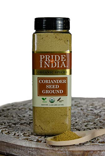 Pride Of India - Biologische korianderzaadgrond - 18 oz (510 g) grote dubbele zeefpot - Authentieke Indiase culinaire kruiden - Beste voor worst, Indiase curry's en augurken - Uitstekende prijs-kwaliteitverhouding