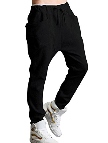 uxcell Men's Running Jogger Pants Basic Training Drawstring Sweatpants Trousers with Pockets Black 32/34