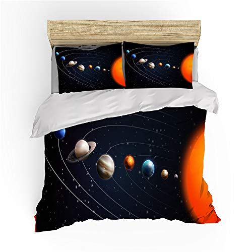 Kids Galaxy Stars Pattern Duvet Cover,3D Sky Universe Printed Bedding Set with Pillowcases,Single Double Bed Quilt Cover for Boys Teens Gift (K,220X240)
