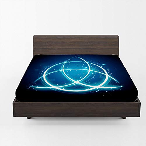 Aopaka Astrology Queen Fitted Sheet Only Deep Pocket 12 Inch, Magic Celtic Knot Shape Sign Fitted Bed Sheets, All-Round Elastic Soft Microfiber Bedding