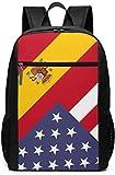 Mochila Unisex con diseño de Bandera de España de América, Multiusos, para la Escuela, para Ordenador portátil, 17 Pulgadas Bandera de Estados Unidos de España America Spain Flag