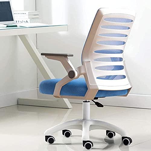 Silla ergonómica de la silla de oficina, silla de oficina de Mid Back Mesh con brazos hacia arriba y soporte lumbar, silla giratoria ejecutiva-Black 55x27x52cm ( Color : White C , Size : 55x27x52cm )