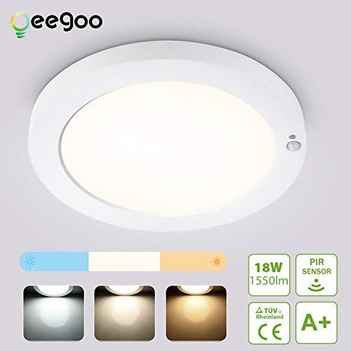Oeegoo Lámpara de Techo LED con Detector de Movimiento, 18W 1550LM Ultradelgada Lámpara con Sensor, Temperatura de 3 colores Ajustable para Baño, Balcón,Ssótano, Escalera, Corredor