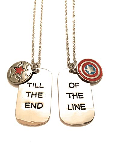 Giulyscreations Necklace Metal Nickel Free Captain America and Bucky Barnes Shield Captain America Till The End of The Line Steve Rogers Comics Superheroes Avengers