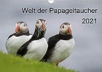 Welt der Papageitaucher (Wandkalender 2021 DIN A4 quer): 13 faszinierende Portrait- und Lebensraumaufnahmen dieser schwarz-weissen Voegel mit dem bunten grossen Schnabel. (Monatskalender, 14 Seiten )