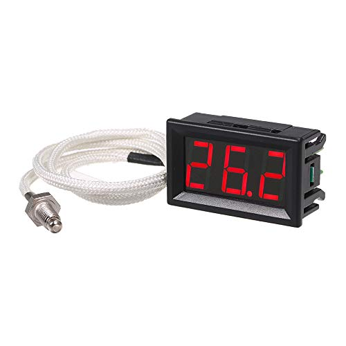 Roeam Industriële digitale thermometer 12 V temperatuurmeter K-type M6 thermo-elementtestapparaat -30~800 ° C thermograaf hoge nauwkeurigheid met LED-display