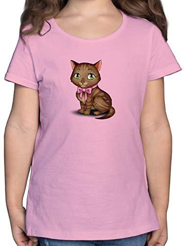 Tiermotive Kind - Kätzchen mit Schleife - 152 (12/13 Jahre) - Rosa - Haustier - F131K - Mädchen Kinder T-Shirt