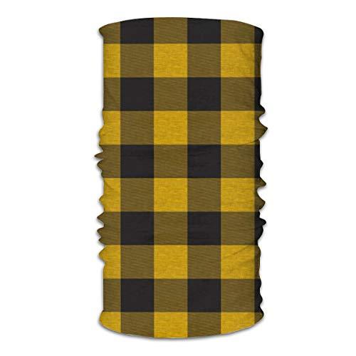 Unisex Multifunktionale Gesichtsmaske Gold Gelb und Schwarz Haus Karo Büffel Bandanas Sport & Freizeit Kopfbedeckung Halstuch Sturmhaube Kopftuch