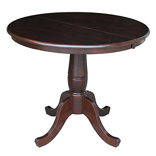 International Concepts 36-Inch Round Top Pedestal Table with 12-Inch Leaf, 30-Inch Standard Table Height, Rich Mocha