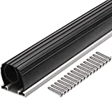 10FT Heavy-Duty U Ring Shape Universal Garage Door Bottom Rubber Seal - Weatherproof Weather Seal Threshold Strip with Pre-drilled Aluminum Track Retainer Base Kit