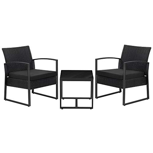 SONGMICS 3-Piece Patio Set Outdoor Patio Furniture Sets, PE Rattan, Outdoor Seating for Bistro Front Porch Balcony, Easy to Assemble, 2 Chairs and 1 Table,Black UGGF010B01