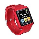 Bluetooth Smartwatch U8 Reloj Inteligente Reloj de Pulsera Reloj Deportivo Digital Reloj para teléfono Android Dispositivo portátil usable (Rojo)