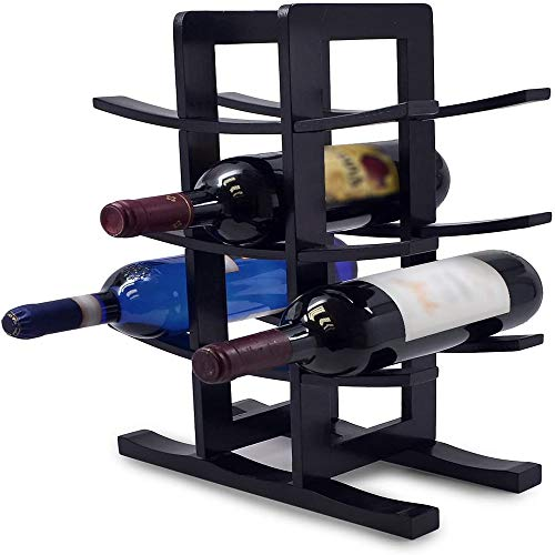 CHUNGEBS Bamboo Wine Rack, Sleek and Chic Looking Wine Rack, Freestanding Wine Rack, Wooden Display Wine Stand,for Home Kitchen Cabinet Floor Table