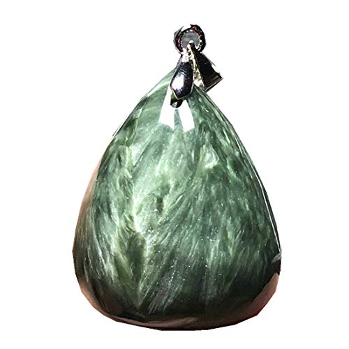 DUOVEKT Seraphinite Pendant, Natural Green Seraphinite Crystal Stone for Women Men 26x21x9mm Beads Silver Water Drop Gemstone Jewelry AAAAA