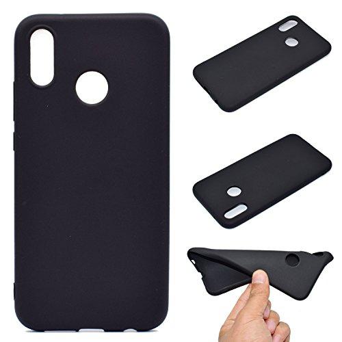 LeviDo Coque Compatible pour Huawei P20 Lite Étui Silicone Souple Bumper Antichoc TPU Gel Ultra Fine Mince Caoutchouc Bonbons Couleurs Design Etui Cover, Noir