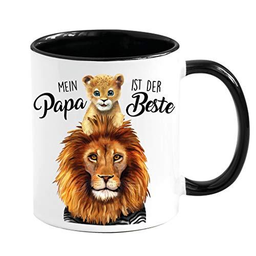 Wandtattoo Loft Tasse Geschenk Vatertag Mein Papa ist der Beste Löwe Löwenkind schwarz weiß