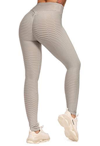 FITTOO Leggings Push Up Mujer Mallas Pantalones Deportivos Alta Cintura Elásticos Yoga Fitness #2 Gris Claro Chica