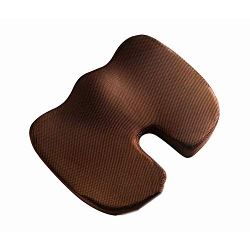 LIYANJIN Memory Foam Office Chair Pad,orthopedic U-shaped Breathable Comfort Beautiful Hip Ergonomics Car Seat Cushion-brown 45x35x7cm(18x14x3inch)
