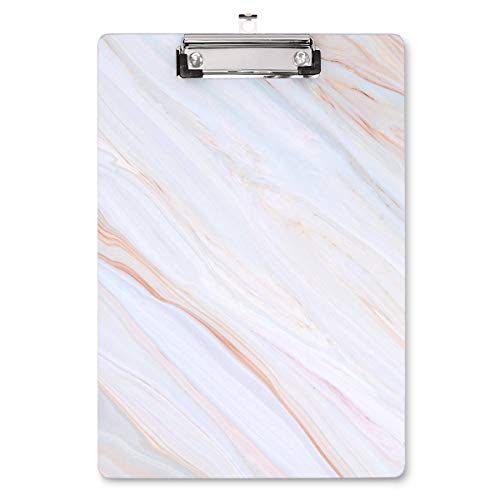 WAVEYU Marble Hardboard Office Clipboard, Decorative Clipboard with Low Profile Clip Chic Designed for Students Classroom School and Office Use, White (12.5'x8.5')