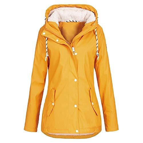 NOBRAND Chaquetas Ligeras para Mujer Chaqueta de Abrigo de Invierno Chaqueta de Lluvia para Mujer Impermeable con Capucha Impermeable al Aire Libre Plus