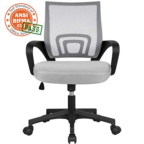 Yaheetech Bureaustoel, ergonomische draaistoel, managersstoel met mesh-net, kantelfunctie grijs