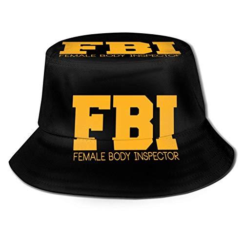 Bokueay Sombrero de Pescador del Inspector del Cuerpo Femenino del FBI Sombreros de Sol con Estampado Unisex Sombrero de Cubo