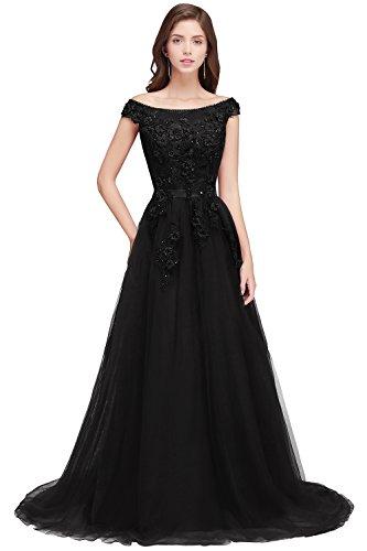 Damen Brautkleid Tüll Hochzeitskleid mit Schleppe Apllique Rückendfrei lang Schwarz 34